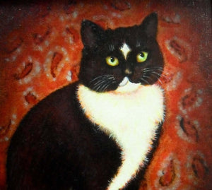 Oil Painting of black & white Cat