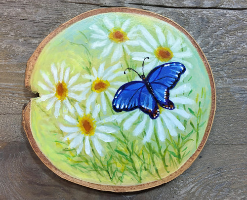 Butterfly with Daisies on Woodslice