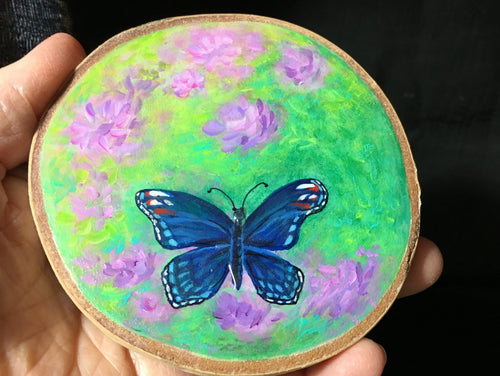 Blue Morpho Painting on Birchslice