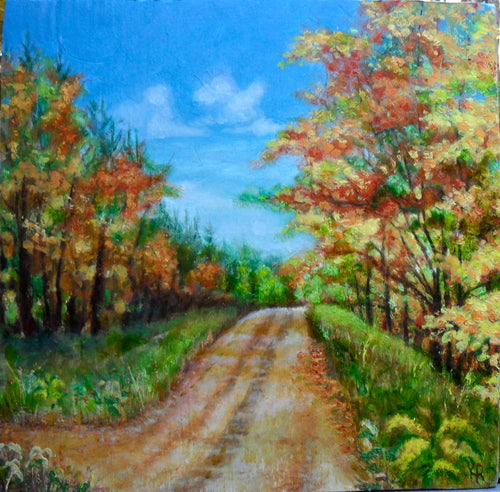 Autumn Landscape Country Road Plein Air Painting