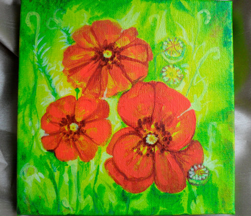 Original Painting Poppies Floral on canvas