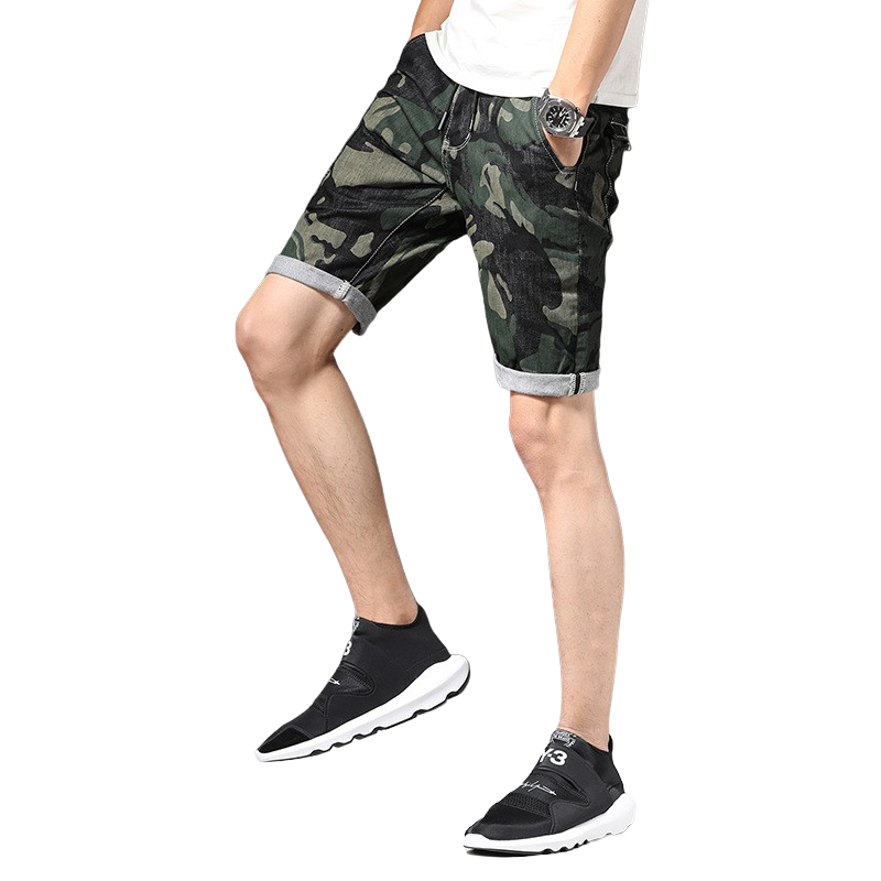 Isaac Camo Denim Shorts