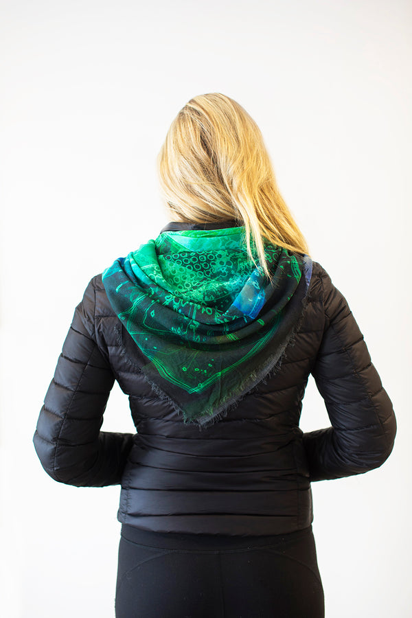 Abstract Emerald- Large Silk Scarf