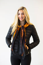 Abstract Orange Black- Large Silk Scarf