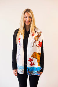 Canadian Animals- Traditional Silk Scarf