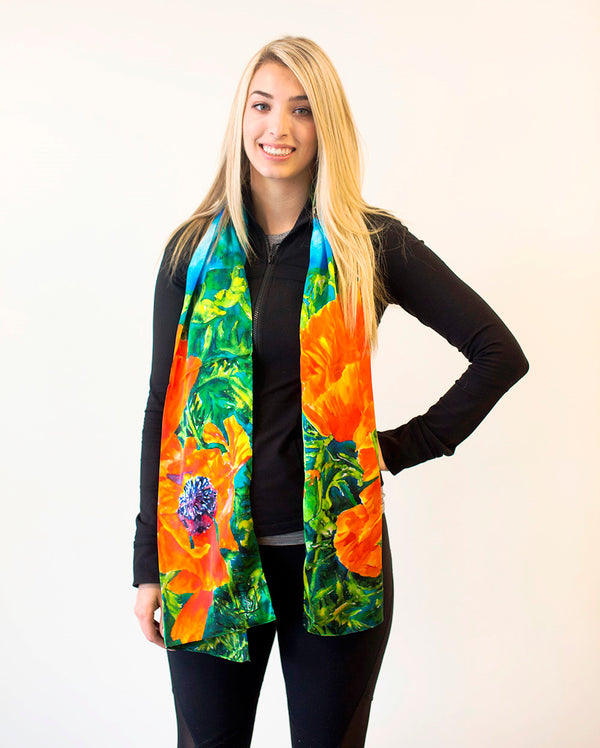 Louise Poppy- Traditional Silk Scarf