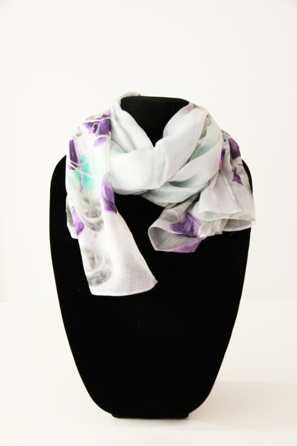 White Purple Peacock Traditional Scarf
