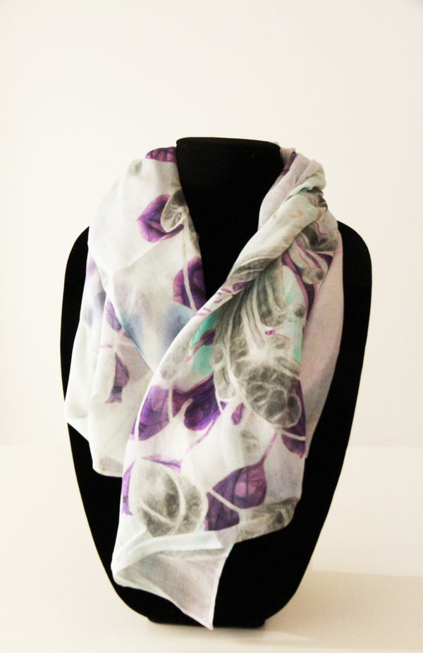 White Purple Peacock- Traditional Silk Scarf