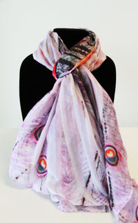 Pink Peacock Traditional Large Scarf