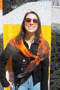 Abstract Orange Black- Silk Mega Wrap
