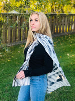 Black/White- Traditional Silk Scarf