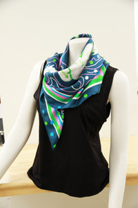 Blue Triple Crown- Small Silk Scarf