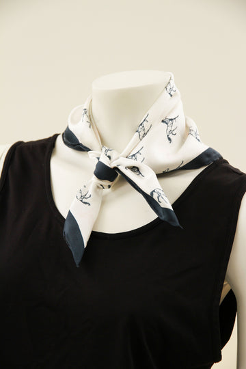 White Blue Horses Mini Square Scarf
