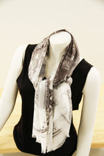 Abstract Grey White- Small Silk Scarf