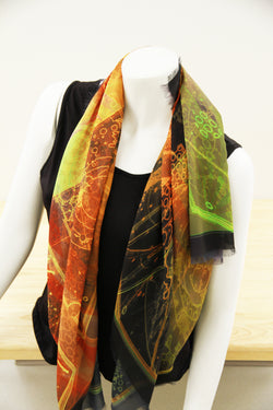 Abstract Gold Green Small Square Scarf