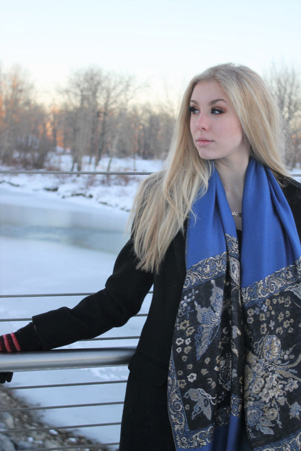 Blue Metallic Pashmina