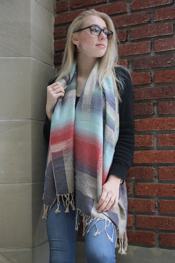 Red/Blue Block- Pashmina Scarf