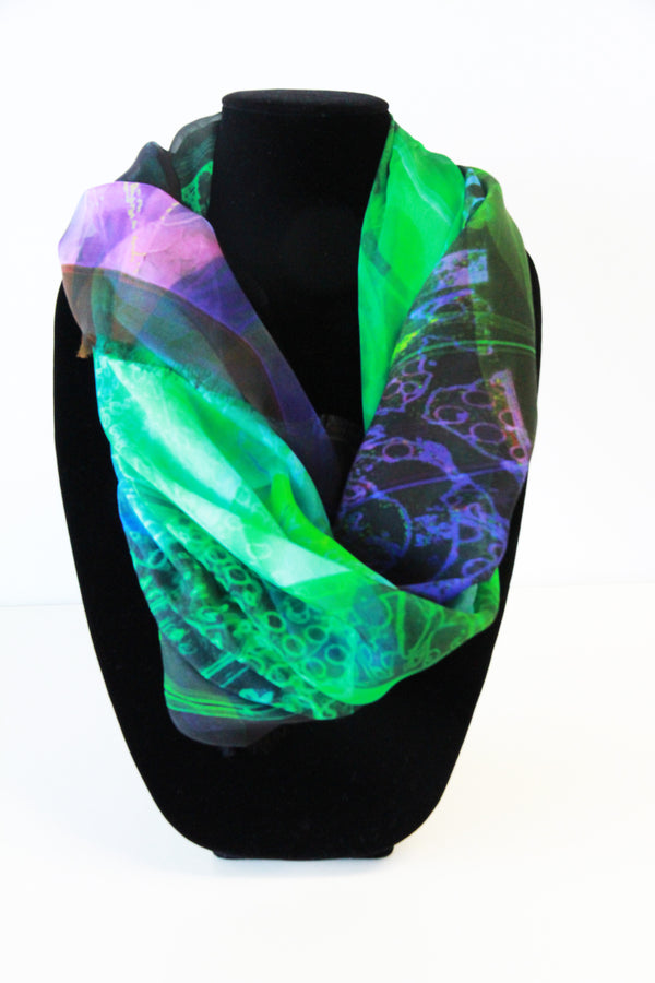 Abstract Emerald Small Square Scarf