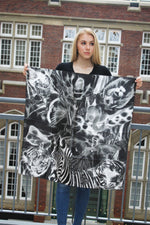 Black/White Zoo- Small Square Silk Scarf