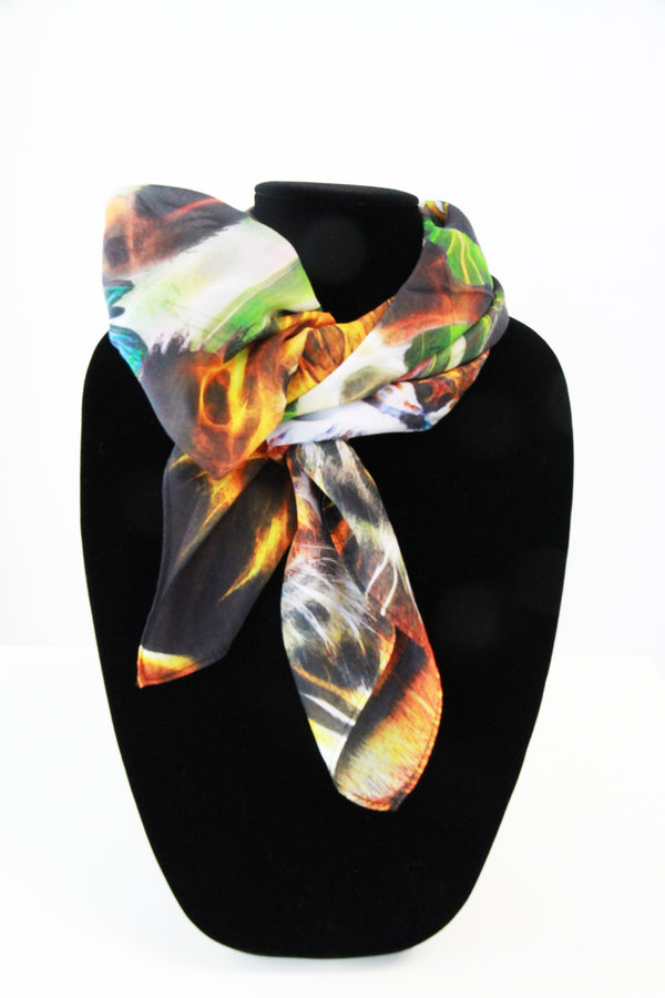 Orange Zoo- Small Square Silk Scarf