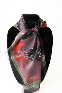 Cindy's Dark Horses- Small Silk Scarf