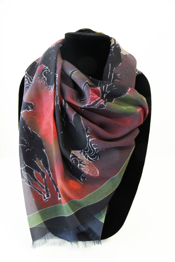 Cindy's Dark Horses Small Square Scarf