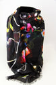 Black Petals Large Square Scarf