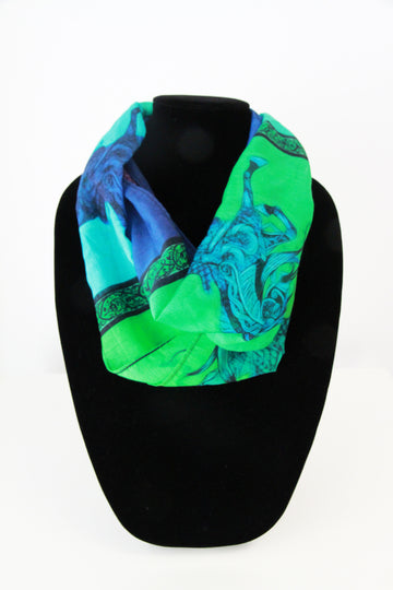 Larry's Green Blue Horses Infinity Scarf