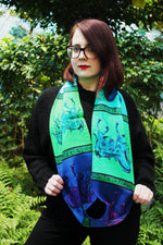 Larry's Stallion- Silk Infinity Scarf (Green/Blue)