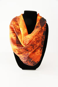 Abstract Orange Black Large Square Scarf