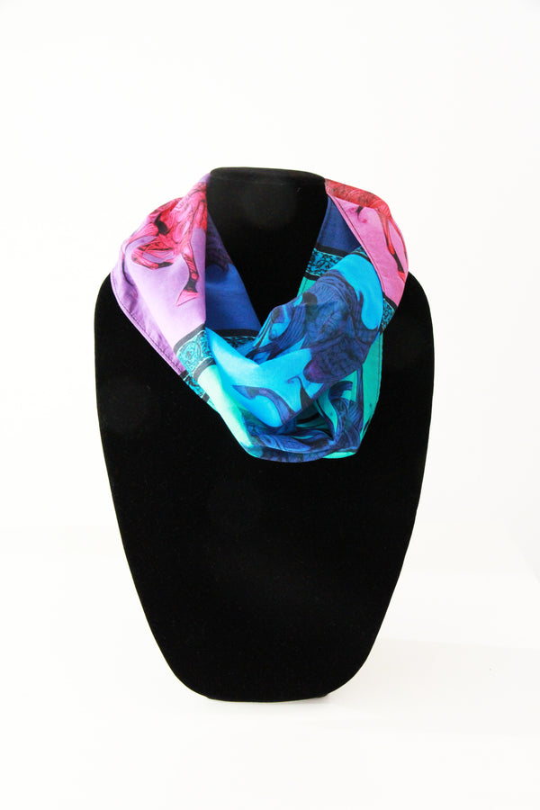 Larry's Stallion- Silk Infinity Scarf (Blue/Pink)