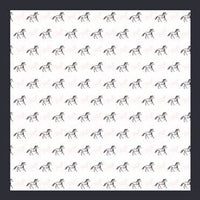 White Blue Horses Mini Square