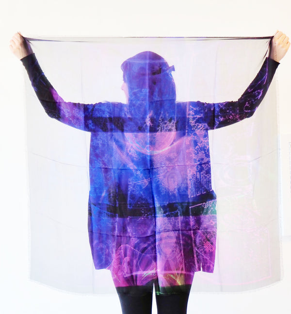 Abstract Purple-Large Silk Scarf