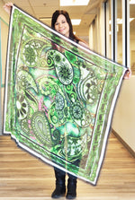Paisley Green- Large Silk Scarf