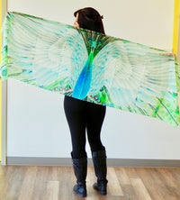 Light Green Peacock Traditional Medium Scarf