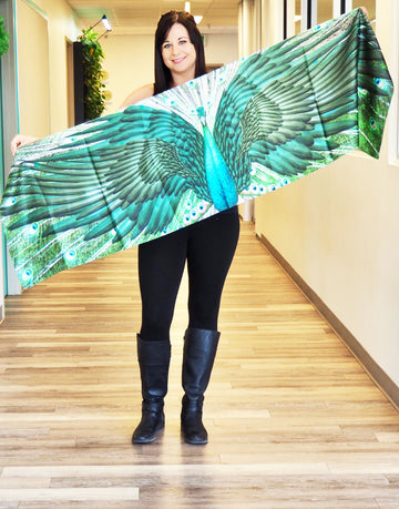 Dark Green Peacock Traditional Large Scarf