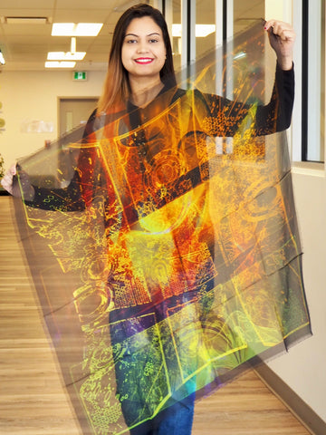 Abstract Gold Green Large Square Scarf