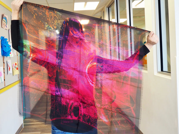 Abstract Pink- Large Silk Scarf