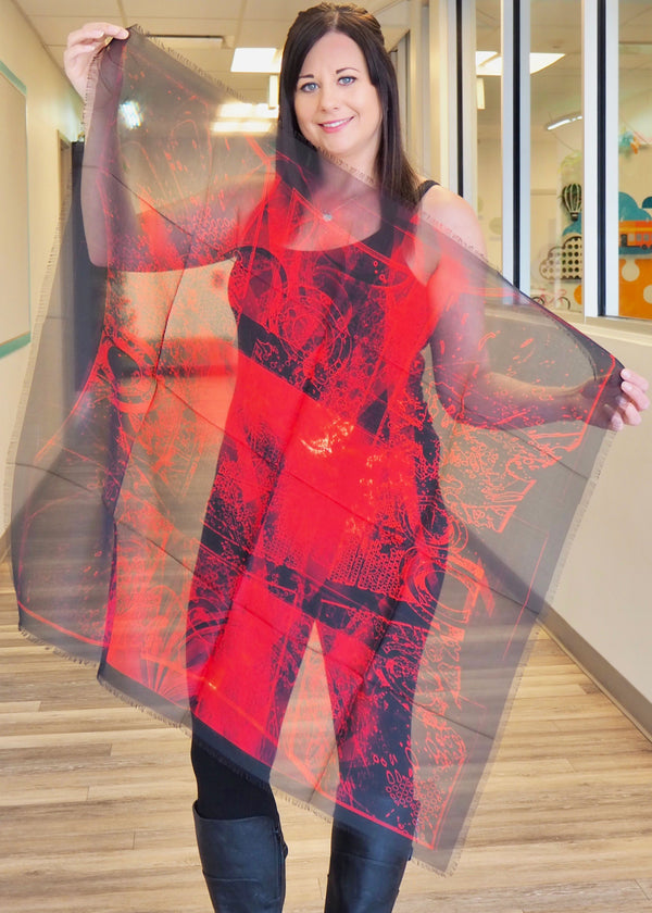 Abstract Red- Large Silk Scarf