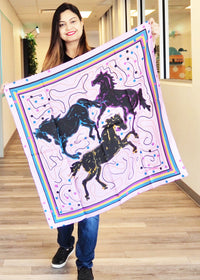 Cindy's Pink Brown Horses Small Square Scarf