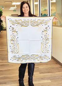 Marcy White Yellow Small Square Scarf