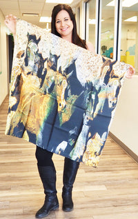 Spirited Horses- Small Silk Scarf