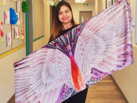 Pink Peacock Traditional- Large Silk Scarf