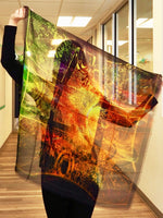 Abstract Gold Green- Small Square Silk Scarf