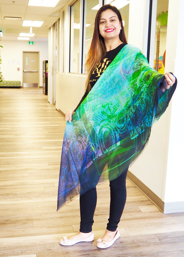 Abstract Green- Silk Mega Wrap