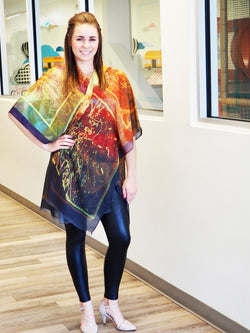 Abstract  Gold Green Kimono Medium