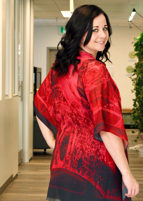Abstract Red Kimono- Medium
