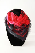 Abstract Red Small Square Scarf