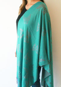 Turquoise Butterfly- Pashmina Scarf