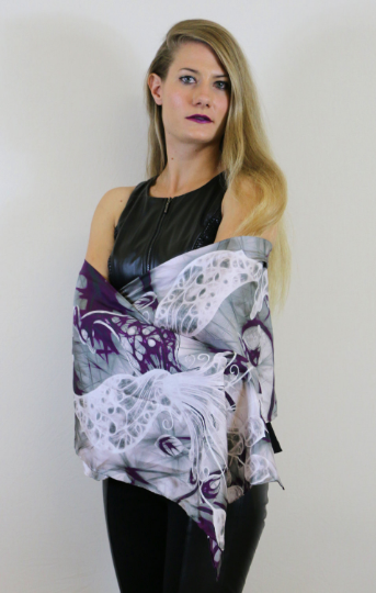 Grey/Purple Peacock- Traditional Silk Scarf